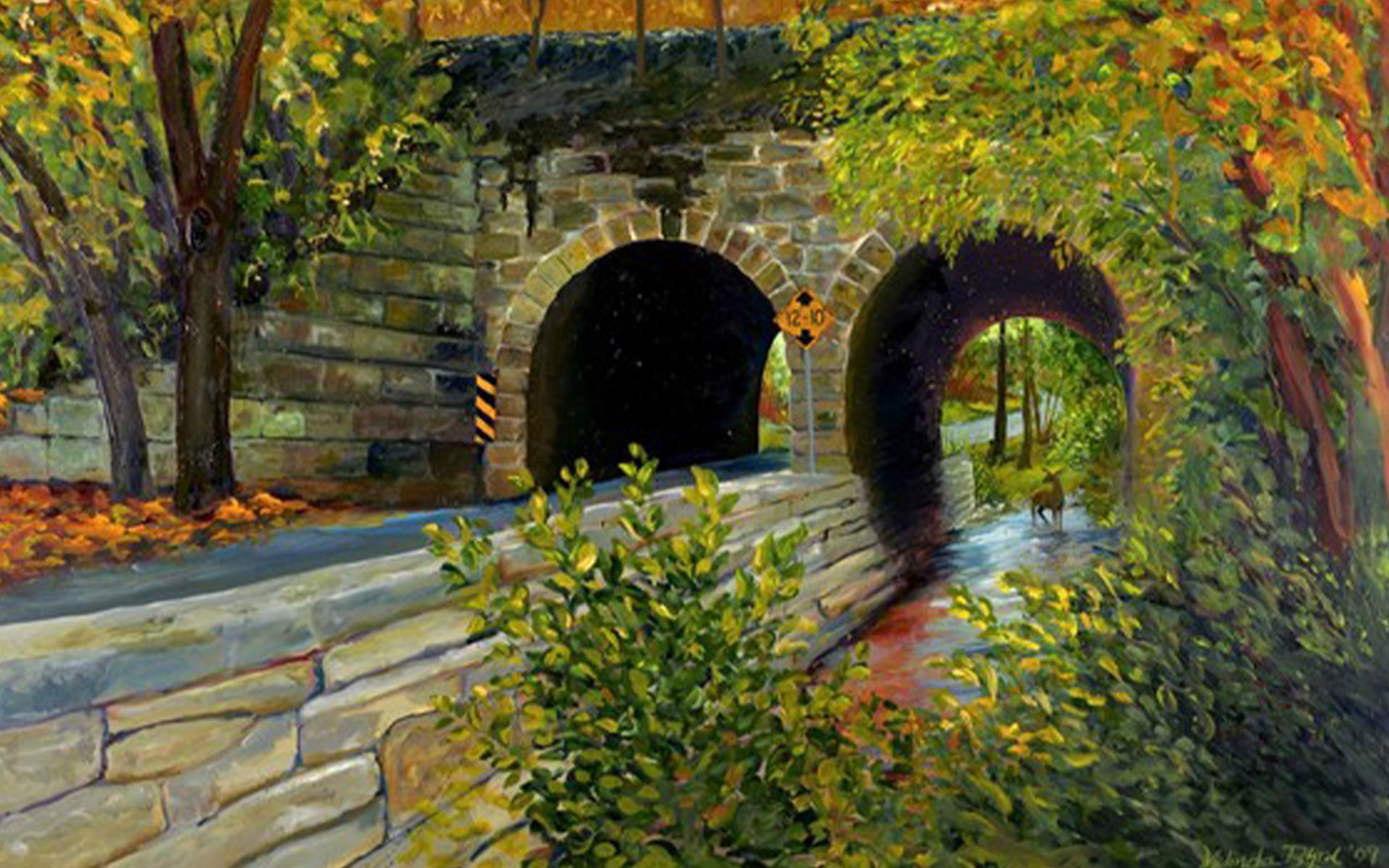 Homepage - Painting of Tunnels and Deer with Fall Foliage